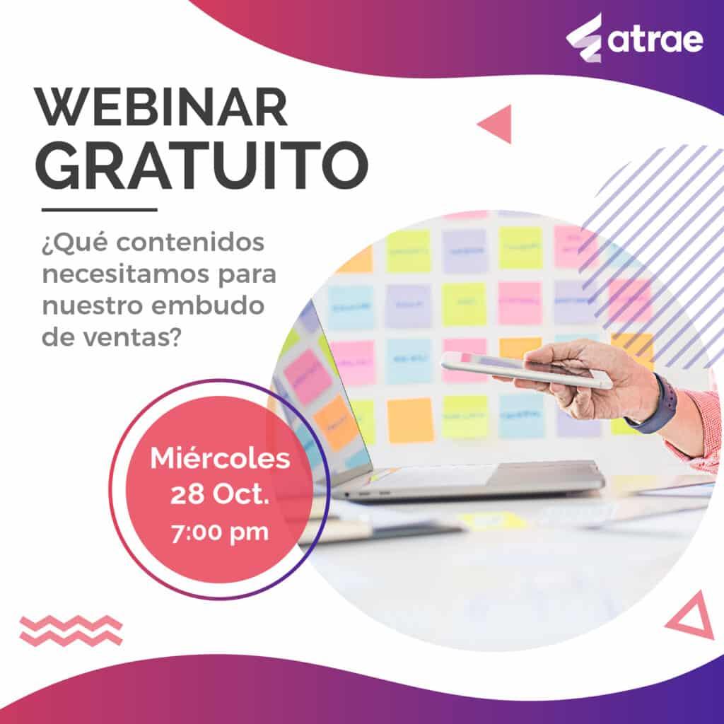 Imagen webinar embudos de venta ATRAE Agencia especializada en ventas Bogotá