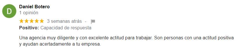 Testimonios Google clientes ATRAE Agencia especializada en ventas Bogotá