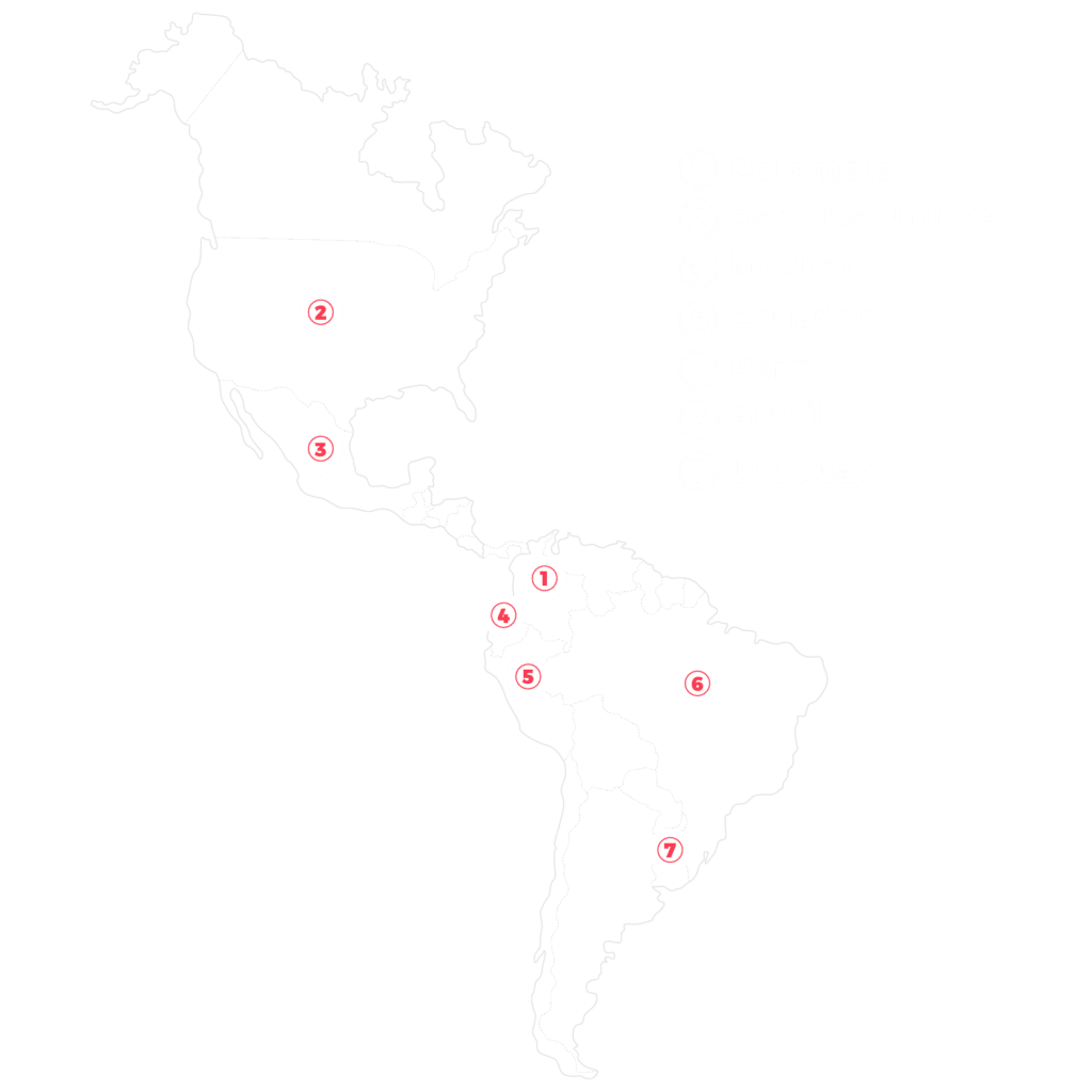 Mapa latinoamerica ATRAE Agencia especializada Embudos de Venta Bogotá